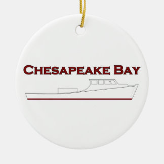 Chesapeake Bay Deadrise Workboat Round Ceramic Ornament