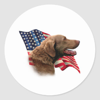 Chesapeake Bay Retriever Flag Classic Round Sticker