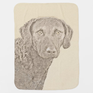 Chesapeake Bay Retriever Painting Original Dog Art Baby Blanket