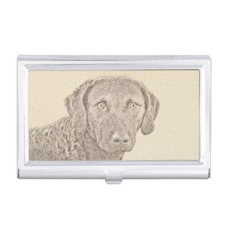 Chesapeake Bay Retriever Painting Original Dog Art Business Card Holder