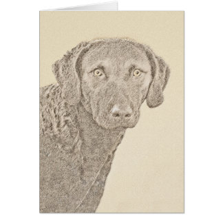 Chesapeake Bay Retriever Painting Original Dog Art Card