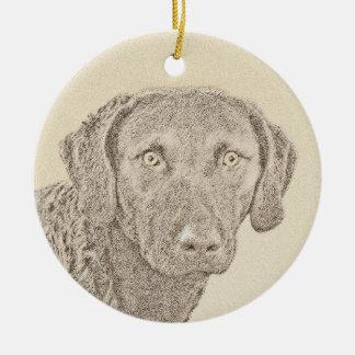 Chesapeake Bay Retriever Painting Original Dog Art Ceramic Ornament