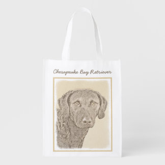 Chesapeake Bay Retriever Painting Original Dog Art Reusable Grocery Bag