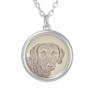 Chesapeake Bay Retriever Painting Original Dog Art Silver Plated Necklace
