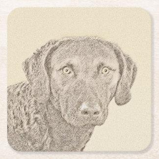 Chesapeake Bay Retriever Painting Original Dog Art Square Paper Coaster