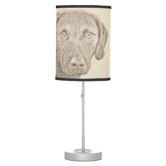 Chesapeake Bay Retriever Painting Original Dog Art Table Lamp