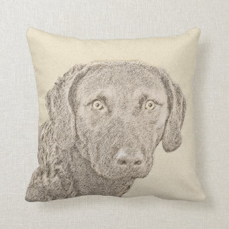 Chesapeake Bay Retriever Painting Original Dog Art Throw Pillow