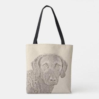 Chesapeake Bay Retriever Painting Original Dog Art Tote Bag