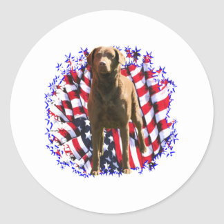 Chesapeake Bay Retriever Patriot Classic Round Sticker