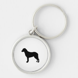 Chesapeake Bay Retriever Silhouette Love Dogs Silver-Colored Round Keychain