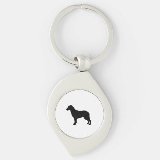 Chesapeake Bay Retriever Silhouette Love Dogs Silver-Colored Swirl Keychain