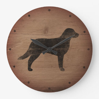 Chesapeake Bay Retriever Silhouette Rustic Style Large Clock