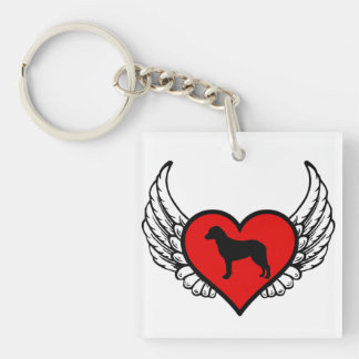 Chesapeake Bay Retriever Winged Heart Love Dogs Double-Sided Square Acrylic Keychain