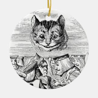 Cheshire Cat Above the Queen Round Ceramic Ornament
