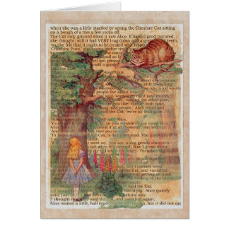 Cheshire cat and alice card