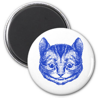 Cheshire Cat Inked Blue 2 Inch Round Magnet