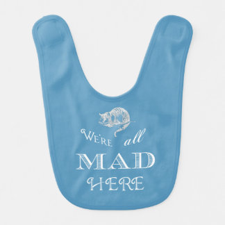 Cheshire Cat Mad Alice Blue Bib