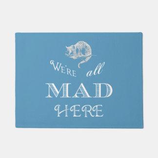 Cheshire Cat Mad Alice Blue Doormat