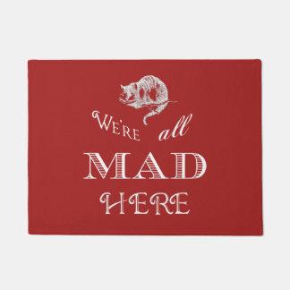Cheshire Cat Mad Alice Red Doormat