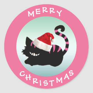 Cheshire Cat Pink Christmas Stickers