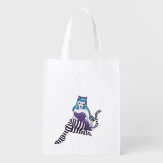 Cheshire Cat pinup reusable grocery tote bag