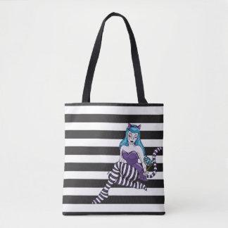 Cheshire Cat stripes reusable tote black stripe