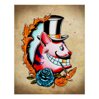 Cheshire Cat Water color Poster