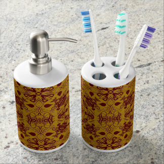 Chesnut Brown and Antique Gold Flourishes Soap Dispenser And Toothbrush Holder