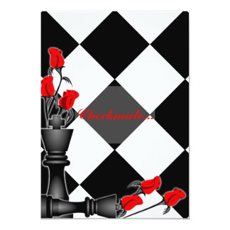 Chess and Roses Gothic Wedding Card