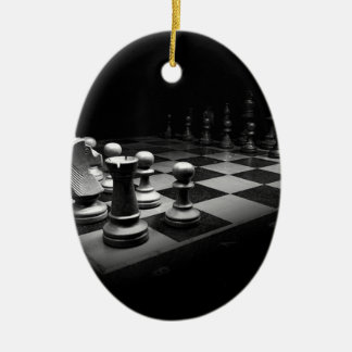 Chess Black White Chess Pieces King Chess Board Ceramic Ornament