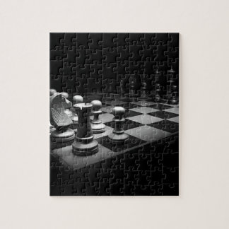 Chess Black White Chess Pieces King Chess Board Jigsaw Puzzle