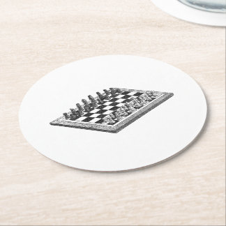 Chess Board and Chess Pieces Vintage Art Round Paper Coaster