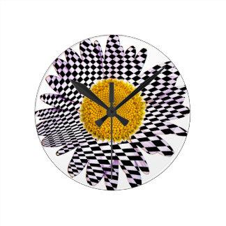 Chess board daisy round clock