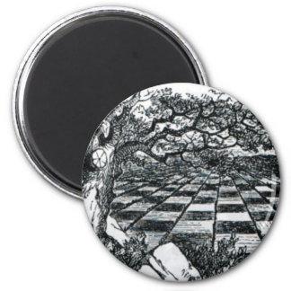 Chess Board in Wonderland 2 Inch Round Magnet