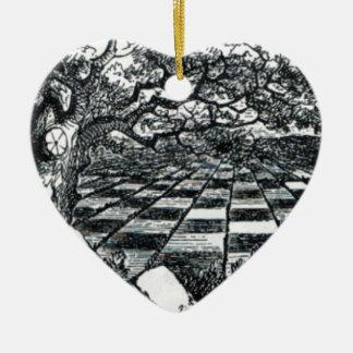 Chess Board in Wonderland Ceramic Heart Ornament