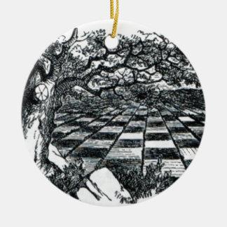Chess Board in Wonderland Ceramic Ornament