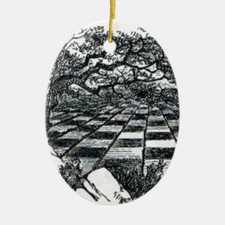 Chess Board in Wonderland Ceramic Oval Ornament