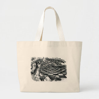 Chess Board in Wonderland Large Tote Bag