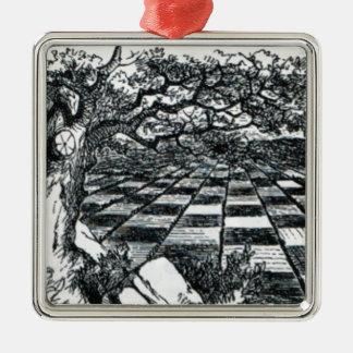 Chess Board in Wonderland Metal Ornament