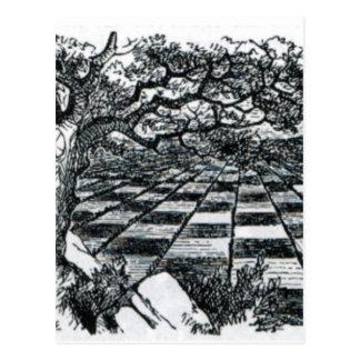 Chess Board in Wonderland Postcard