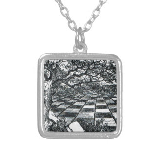 Chess Board in Wonderland Silver Plated Necklace