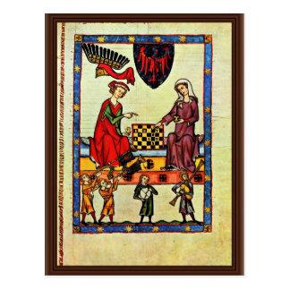 Chess,  By Meister Der Manessischen Liederhandsch Postcard