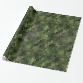chess checkered pattern camouflage green wrapping paper