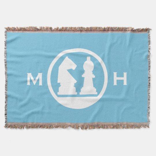 CHESS custom monogram & colour throw blanket