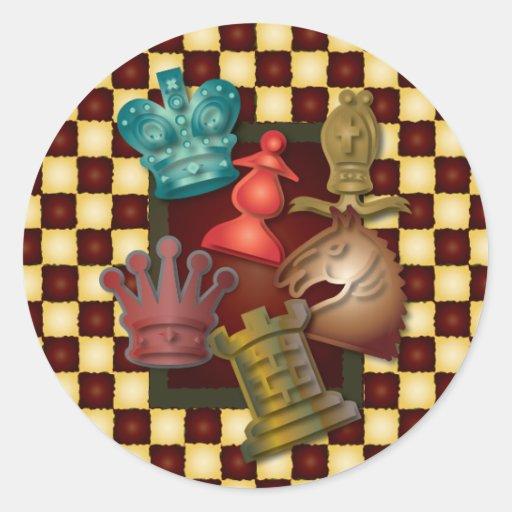 Chess Design King Queen Knight Bishop Pawn Round Sticker