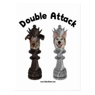Chess Double Attack Dogs Postcard