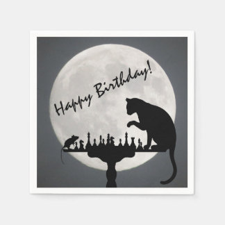 Chess Full Moon Cat and Mouse Game Happy Birthday! Disposable Napkin