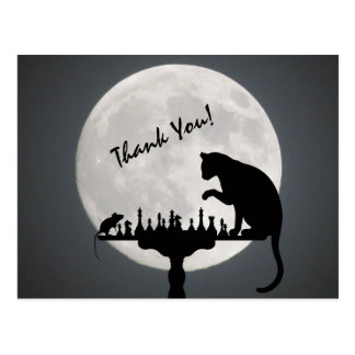 Chess Full Moon Cat and Mouse Game Thank You! Postcard