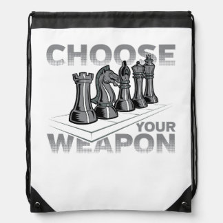 Chess Game Choose Your Weapon Drawstring Bag
