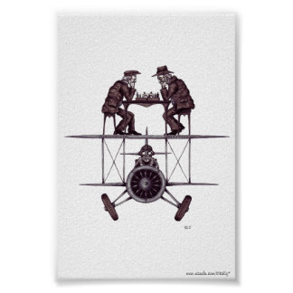 Chess game on plane surreal pen ink drawing art poster